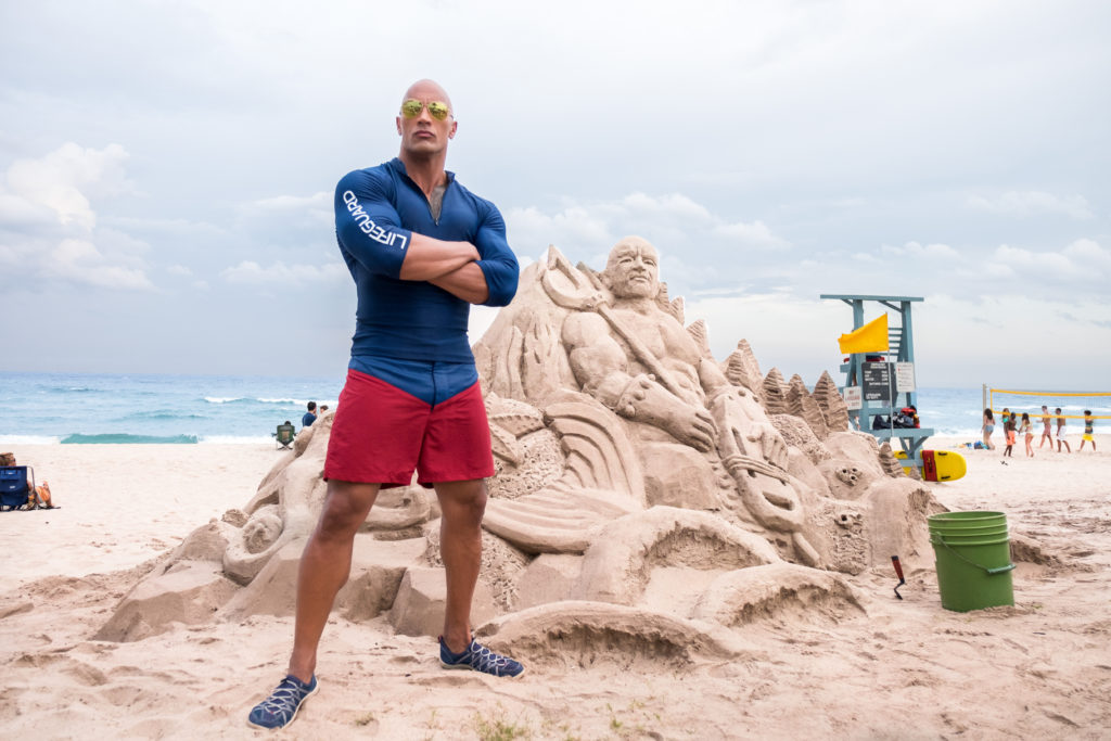 Dwayne Johnson as Mitch Buchannon on the set of the film BAYWATCH by Paramount Pictures, Montecito Picture Company, FlynnPicture Co., and Fremantle Productions