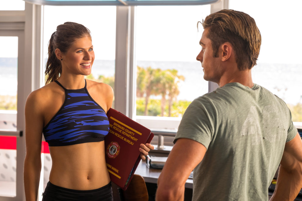 (L-R) Alexandra Daddario as Summer and Zac Efron as Matt Brody in the film BAYWATCH by Paramount Pictures, Montecito Picture Company, FlynnPicture Co., and Fremantle Productions