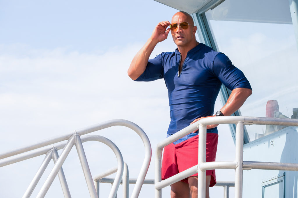 Dwayne Johnson as Mitch Buchannon in the film BAYWATCH by Paramount Pictures, Montecito Picture Company, FlynnPicture Co., and Fremantle Productions