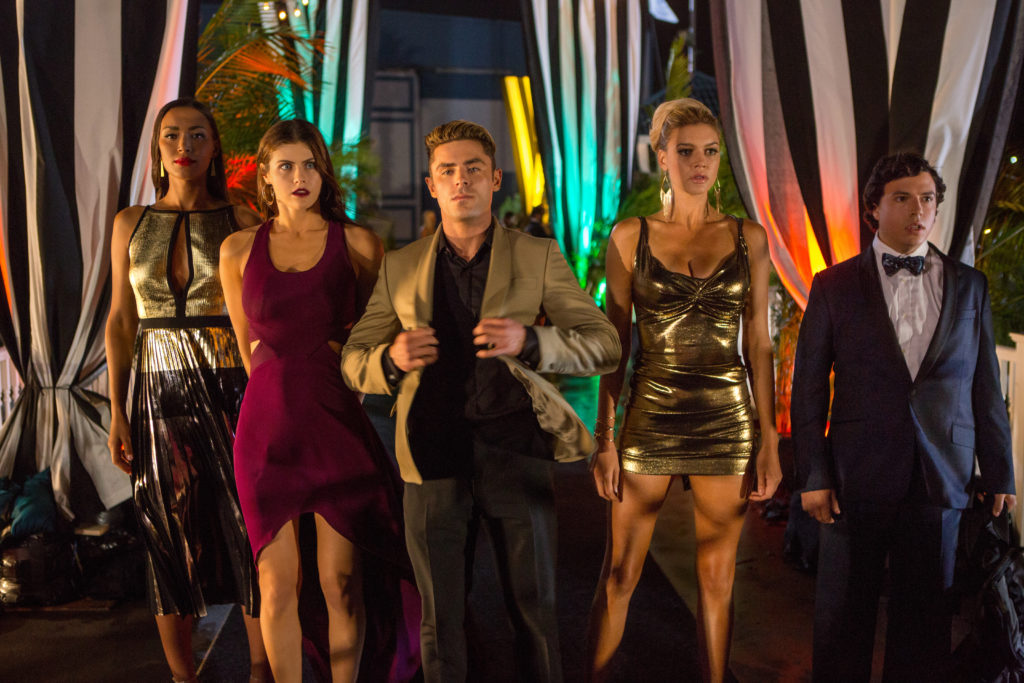 (L-R) Ilfenesh Hadera as Stephanie Holden, Alexandra Daddario as Summer, Zac Efron as Matt Brody, Kelly Rohrbach as CJ Parker and Jon Bass as Ronnie in the film BAYWATCH by Paramount Pictures, Montecito Picture Company, FlynnPicture Co., and Fremantle Productions